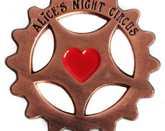 Alice's Night Circus Cog Heart Pin Steampunk Music Badge Brooch