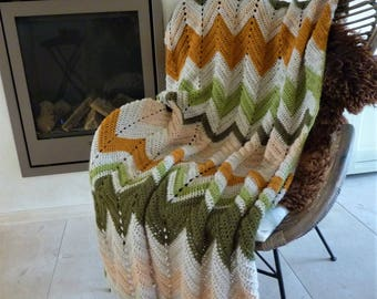 Crochet chevron blanket crochet afghan crochet blanket chevron blanket striped blanket chevron afghan chevron throw crochet throw