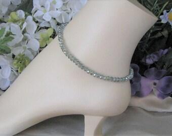 Green Anklet-Sea Green Crystal Anklet-Dressy Anklet-Silver Anklet-Delicate Anklet Bracelet-Silver Crystal Anklet-Evening Ankle Bracelet