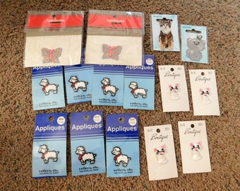 Vintage Appliques Lot of 15 Animal  Butterfly Sheep Cats   NEW  Non Smoking Home   Sale Destash  02