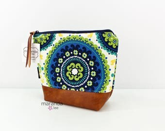 AVA Medium Clutch - Medallion Blue with PU Leather READY to SHIp Cosmetic bag Travel Make Up Zipper Pouch