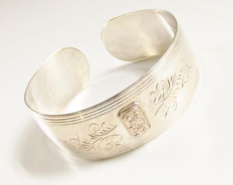 Sterling Silver Etched Cuff Bracelet S Coat of Arms 1930s