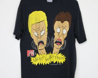 Beavis and Butthead Shirt Vintage tshirt 1993 MTV Sitcom Tee 1990s Black Comedy Animated Funny Cartoon Rock And Roll Punk Metal Mike Judge