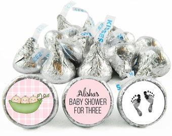 Set of 108 - Sweetpea Triplet Stickers for Hershey's Kisses. Triple Baby Shower Kisses - Triple Girl Baby Shower Favors - #IDGBS415