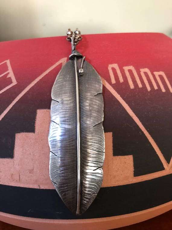 Handmade Jewelry, Sterling Silver Feather Pendant, Southwestern Jewelry, Boho Chic, Feather Necklace