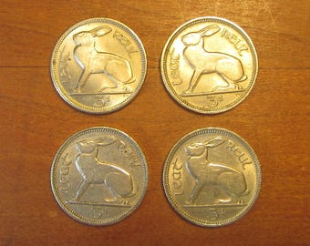 Irish 4 Coin Lot, 3 pence coins all 1968, Ireland, collectors craft supply jewelry making, lucky rabbit hare, threepence, harp