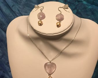 Heart shaped light amethyst and pink freshwater pearl necklace and earrings set sterling silver