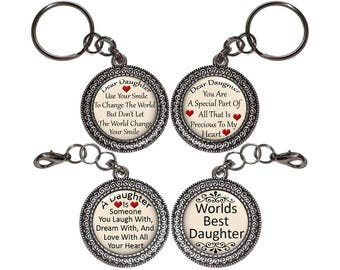 Daughter, Key Ring, Purse Charm, Handbag Charm, Zipper Pull, Saying, Quote, Family, Charm, Child, Gift, Antique Silver, Gifts Under 5 (No.1)