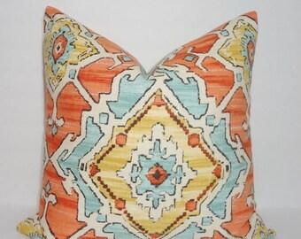 SPRING FORWARD SALE Orange Blue Aztec Print Pillow Cover Decorative Pillow Cover Southwestern Design 18x18