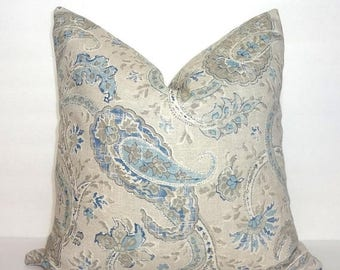 SPRING FORWARD SALE Taupe Beige Blue Paisley Pillow Cover Home Decor by HomeLiving Size 18x18
