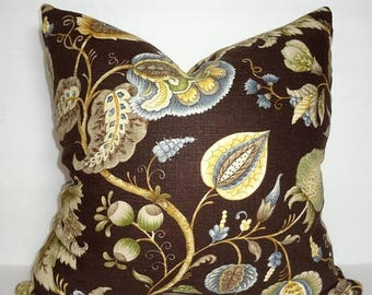 SPRING FORWARD SALE Dark Brown Powder Blue Green Beige Gold Floral Pillow Cover Home Decor by HomeLiving Size 18x18