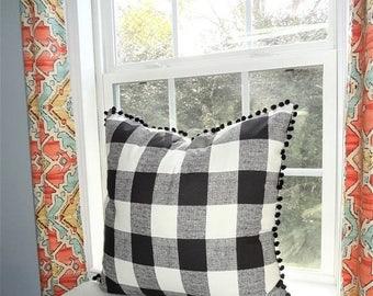 SPRING FORWARD SALE Buffalo Black White Plaid Pom Pom Pillow Cover Black Large Plaid Pillow Cover Pom Pom Plaid Pillow Cover Choose Size