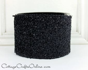 """Wired Ribbon, 4"""" wide, Black Iridescent Textured - TEN YARD ROLL - Offray """"Jazz Era"""" Halloween, New Year's, Christmas Wire Edged Ribbon"""