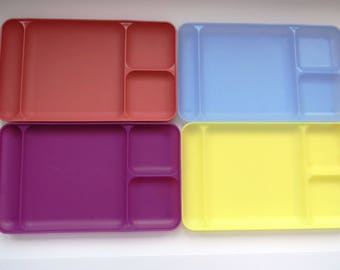 Tupperware Divided Picnic Cafeteria Trays - Set of 4 - Pastel Purple Yellow Blue Pink - Stackable Molded Plates Dishes - BBQ Camping RVing