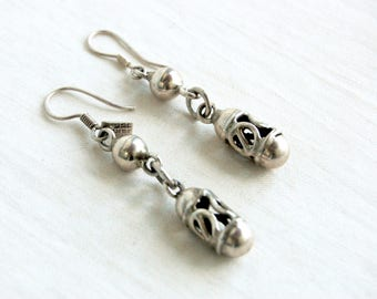 Mexican Drop Earrings Vintage Sterling Silver Dangles Taxco Mexico Modern Drops Dangle Earrings