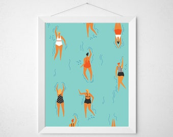 Retro Summer Print - mid century modern palm springs pool tropical swimming pool swimmers beach poster wall art deco aqua surf retro vintage