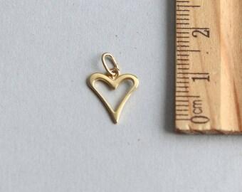 Gold Vermeil heart charm, 24K gold plated sterling silver Charm, Love Charm, Gold Heart Charm, Tiny Gold Plated Heart charm, 10mm( 1 piece )
