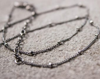 Sterling Silver Chain Necklace, Silver Satellite Necklace, Silver Oxidized Chain, Satellite Chain, Silver Oxidized Necklace, Sundance Style