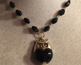 Black Necklace - Owl Pendant Jewelry - Gold Jewellery - Wire Wrapped - Fashion
