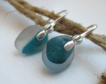 Teal End Of Day Sea Glass Sterling Silver Earrings