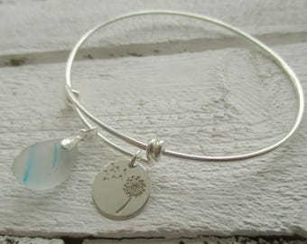 Rare Sea Glass Sterling Silver Bangle Bracelet, Wishing for the beach bangle, adjustable bangle, Dandelion Clock