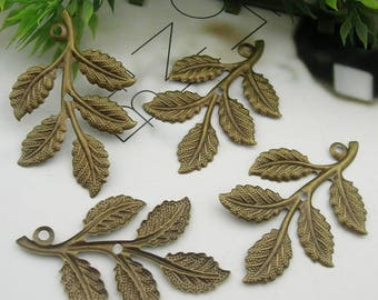 8pcs  Antique Brass  Or Silver Plated Leaves Filigree Charms,32X50mm (LV-04)
