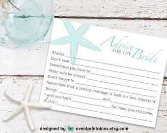 Bridal Shower Mad Libs, AQUA Starfish Beach Wedding Mad Libs, Advice for the Bride Bridal Shower Game, DIGITAL FILE by Event Printables