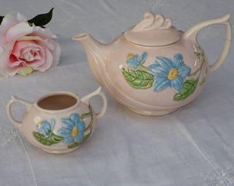Vintage Hull Magnolia Tea Pot & Sugar, Hull Art Pottery Pink Magnolia Tea Pot Sugar (IA)