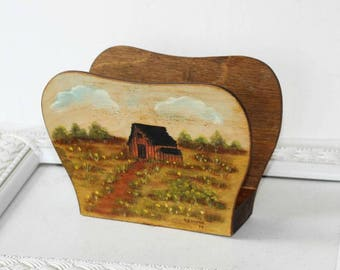 Handpainted Wooden Napkin Holder Stained Rustic , Cabin Napkin Holder Hand Painted Rustic Scene, Lunch or Beverage Napkin Holder Casual Use