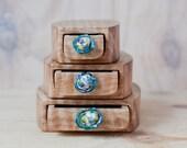 Mountain Ash stack set of three boxes bandsaw wooden box handmade glass drawer. Box set. wooden box. wood box. glass drawer pull