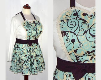 Twirly Skirt Apron, Aqua Swirl CIRCLE SKIRT Apron, sweetheart neckline, flirty pin up apron, photo prop, diner apron, ready to ship now