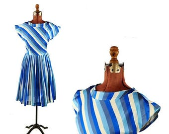 ON SALE Vintage 1950's Ocean Blue + White Wide Pin Stripe Asymmetrical Pleated Mid Century Dress S