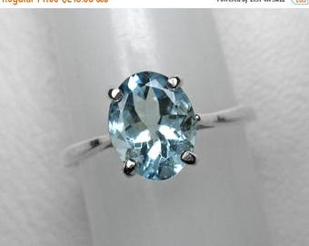 Aquamarine Ring in Silver, 9 x 7 mm