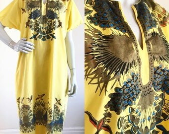 Hand Painted Banana Yellow Egyptian Caftan Ceremonial Dress