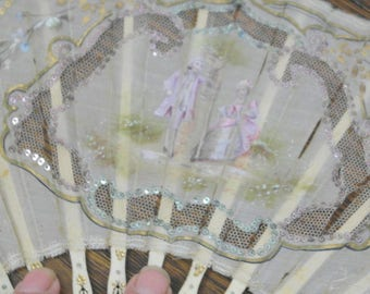 antique hand painted silk fan