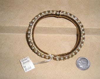 Vintage Signed Hobe Hinged Bracelet With Faux Pearls 1960's Jewelry 11035