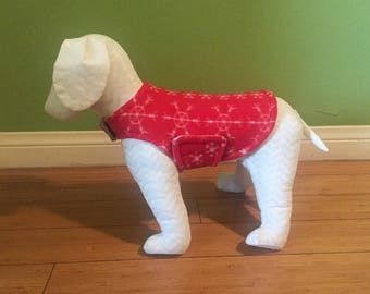 Fleece Dog Coat, Extra Small Red & White Nordic Style Star and Snowflake Print Fleece with Heather Gray Fleece Lining