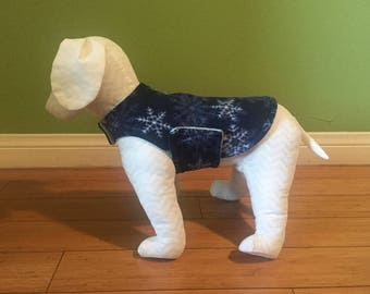 Fleece Dog Coat, Extra Small Navy Blue & White Snowflake Print Fleece with Ice Blue Fleece Lining