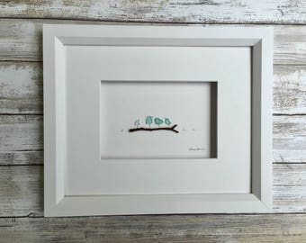 Pebble and seaglass birds on a log  8 by 10 PebbleArt by Sharon Nowlan choice of framed or unframed