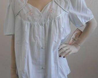 Vintage Bed Jacket Barbizon Lounge Wear Blue Medium Cotton Blend Pajama Top