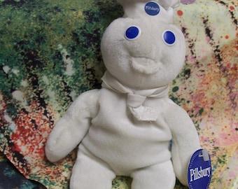 Vintage Pillsbury Dough Boy Bean Bag Doll by Dakin Circa 1997 Tag Attached Beloved Advertising Icon The Pills Bury Dough Boy Doll