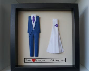 First wedding anniversary gift-personalized origami  Bride and groom outfit -Original wall art-made to order