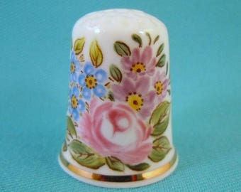 HAND PAINTED Bone China Thimble with Flowers