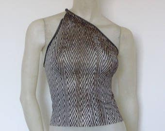 Stunning embelished Tango one Shoulder Top with golden Sparkling Effect Size US 4/6 Eu 34/36  Tango Chamise