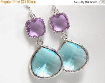 SALE Blue Earrings, Aquamarine, Silver Purple, Amethyst, Light Blue, Lavender, Bridesmaid Earrings, Bridal Earrings Jewelry, Bridesmaid Gift