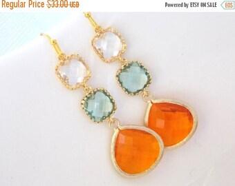 SALE Orange Earrings, Green Earrings, Clear, Tangerine, Soft Green, Light Green, Carnelian, Glass, Gold, Bridesmaid Earrings, Bridesmaid Gif