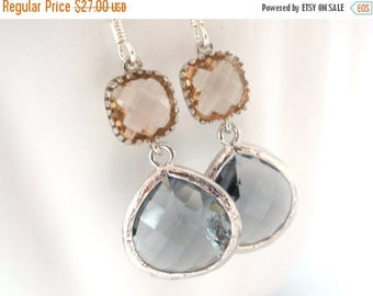 SALE Glass Earrings, Grey Gray Earrings, Champagne, Peach Earrings, Silver, Charcoal , Bridesmaid Gifts, Bridesmaid Earrings, Bridal Jewelry