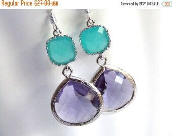 SALE Glass Earrings, Purple Earrings, Silver Earrings, Mint, Turquoise, Blue, Aqua, Bridesmaid Earrings, Bridal Earrings, Bridesmaid Gifts