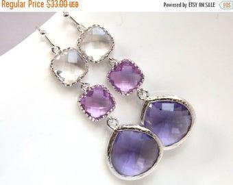 SALE Purple Earrings, Lavender, Drop, Dangle, Lilac, Glass Clear Silver, Bridesmaid Jewelry, Bridesmaid Earrings, Bridal Jewelry, Bridesmaid