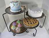 Vintage SWiVEL PIE STAND 4 Tier BAKERY STATiON Cake Pastry Cookie Cupcake Kitchen Buffet Display Rack Black